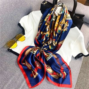 scarfNew sunscreen simulation silk women's rolled edge 90cm large square decorative binding bag small scarf