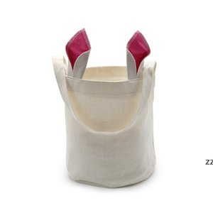 Sublimation Rabbit Ears Basket Party Linen Easter Bunny Bucket Candy Gift Storage Bag With Handle HWF11294
