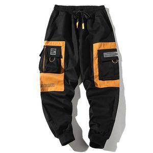 Уличная одежда мужская грузовые брюки хип-хоп ZIP карманные брюки пробежки мужчин высокая мода повседневные упругие талии мужские спортивные штаны