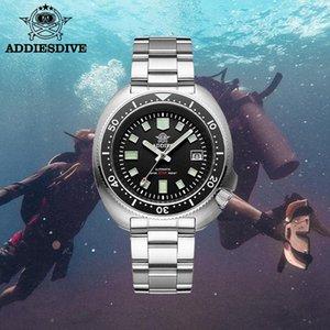 Addies automático relógio mecânico homens safira cristal nh35 aço mergulho c3 super luminoso mergulhador relógios de pulso homem