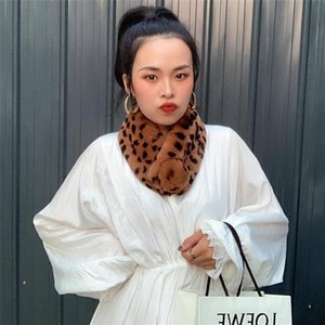 Scarves Winter Women Fur Scarf Soft Plush Double-Sided Thickened Whole Skin Elk Leopard Print Suction Buckle Outdoor