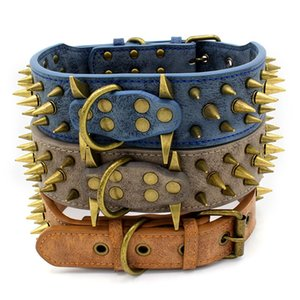 Leather Dog Collar Spiked Studded Pet Collar Black & Red Spikes 2 inch Wide For Medium Large Breeds Dogs Pitbull 1234 V2
