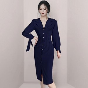 COIGARSAM Office Lady Women dress New Spring French Style High Waist Dresses Dark Blue 400