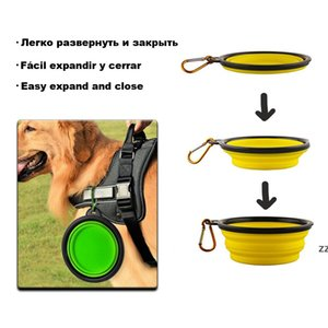1000ml Travel Collapsible Pet Dog Bowl Feeders Folding Silicone For Dogs Outdoor Water Food Feeding Foldable Cup Dish HWE10492
