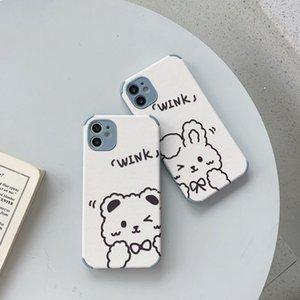 Cartoon cute bear rabbit lambskin mobile phone cases for iPhone 12 11 Pro X Xr Xs Max Mini 7 8 Plus