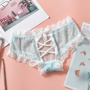 Sexy lace underwear women's translucent split hollow fun underwear lace women's low waist briefs