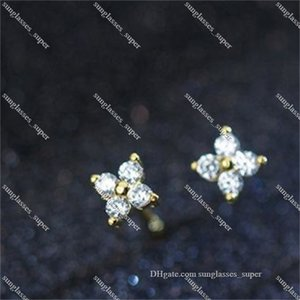 925 Sterling Silver Cz Stone Paved Tiny Flower Girl Stud Earring For Silvers Gold Mini Studs Earrings Wedding Gift LBD Women Men Boy