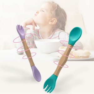 Baby Silicone Double-headed Fork Spoon Wooden Handle Learning Feeding Tableware Wholesale LX3726