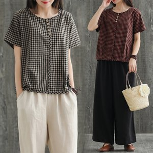 Women's Blouses & Shirts Spring Women'sWomen Blouse Short-sleeved Cotton And Linen Plus Size Plaid Loose Casual O-neck Shirt