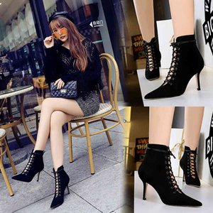 Winter Women Martin Boots Thin Spike High Heels White Black PU Casual Office Female Pointed Toe Lace Up Stiletto Ankle Boot
