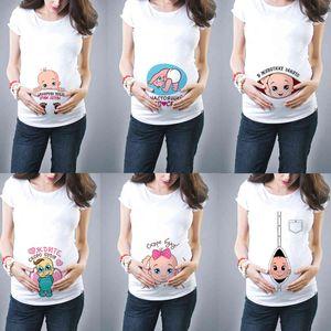 New Cute Motherhood Clothing Casual Pregnancy t Shirtsbaby Print Funny Women Summer Teas Pregnant Top Streetwear