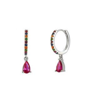 Andywen 100% 925 Sterling Silver Ovals Water Drop Earring Green Zircon CZ Circle Round Loops Crystal Women Piercing Ohrringe 924 T2