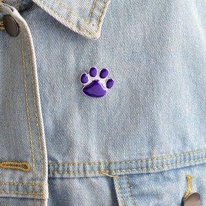 Broşlar Pins Mor Pet Takı Hediye Hayvan Lover Pin Paw Kedi Köpek Broş Için