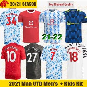 20 21 Manchester United Maglie da calcio VAN DE BEEK Tifosi Versione giocatore CAVANI FERNANDES Maglia Man Utd Quarto Humanrace Maglia lunga per bambini Kit