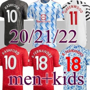 2021 2022 Manchester Top FC Jersey di calcio Greenwood Pogba Rashford sleeve calcio camicia Bruno Fernandes Kit Martial Utd 21 22 uomini bambini unifica
