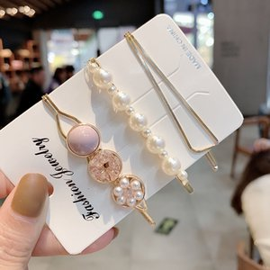 Rhinestone Imitation Pearls Barrettes Gold Plated Color Sweet Hair Clips Women Lady Side Clamps Headwear Jewelry Accessories 1 8lya N2