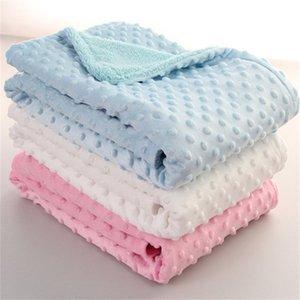 Baby Blanket & Swaddling Newborn Thermal Soft Fleece Blanket Winter Solid Bedding Set Cotton Quilt Infant Bedding Swaddle Wrap 1119 V2