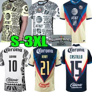 2021 2022 Liga MX Club América Terceiro Amarelo Futebol Jerseys 20 21 3Rd Giovani Castillo Camisa de Futebol Kit Futbol Personalizado