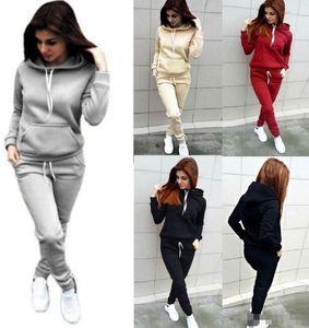 2Pcs Set Women Winter Loungewear Tracksuit Lady Hoodies Sweatshirt Jogger Pants F70