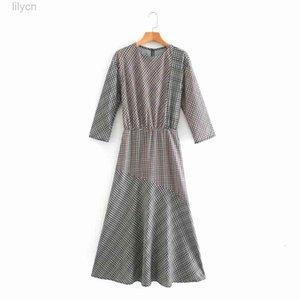 Распечатать экипаж сексуальное платье дизайнер одежда с длинным рукавом New1 осень осень новых женских платьев мода с пледкой MIDI повседневная