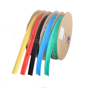 100M Diameter 10mm Flat Width 18mm Shrink Tubing Sleeving Cable Heat Shrinkable Tube Yellow Blue Green White Red Clear Yellow-green IRWR