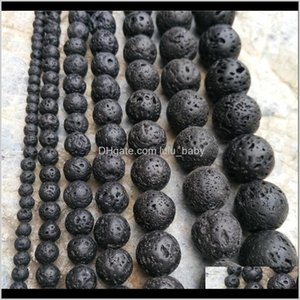 Loose Drop Delivery 2021 Many Size 4Mm Jewelry Making Round Natural Gemstone Beaded Stone Black Lava Beads Volcanic Rock Material Necklace Br