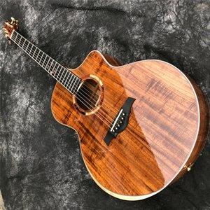 Top Quality All Solid Koa Wood 41 Inches Jumbo Cutaway Acoustic Guitar