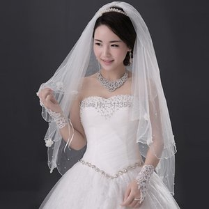 Bridal Veils Layer 2 Ivory White Beading Vail Wedding Accessories Elbow Length Veil With Comb