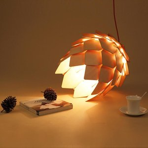 Retro Nordic Pinecone Led Pendant Lamps Modern Wooden DIY IQ Elements Puzzle Bedroom Art Wood Lamparas Light Fixtures