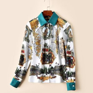 Women Shirt Blouses And Tops Summer Horses Totem Print Runway Long Sleeve Kimono Ladies Green Collar Elegant Vintage Office Shirts