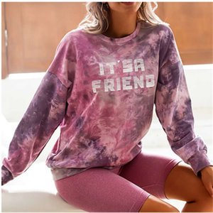sweatshirt Autumn and winter printed tiger head letter hooded tie dyed women's fashion sweater