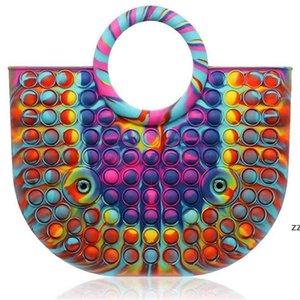 30CM Bubble Fidget Sensory Push Hand Bag Tote Simple Purse Wallet Rainbow Tie Dye Silicone Rubber Handbag Women Girls Christmas HWA8573