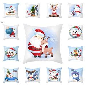 Cartoon Christmas Pillowcase Merry Christmas Decorations Cute Snowman Sofa Cushion Home Pillow Covers LLA9405