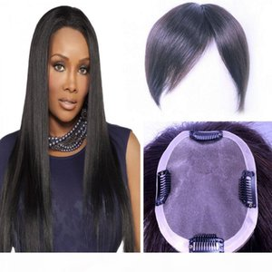 Indian Human Hair Toupee For Men Women 10*12 cm Natural Black Color #3 Lace And PU Around High Quality