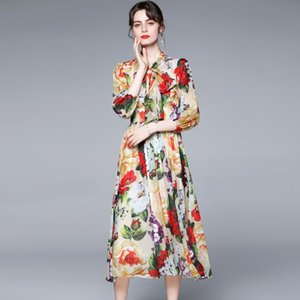 Elegant Summer Boho Vacation Beach Dress Fashion Runway Women Chiffon Printed Flower Ladies Bow Holiday Long S-XXL Casual Dresses