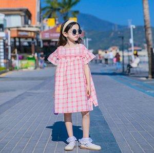 الفتيات كبيرة منقوشة فساتين الصيف الأطفال الشاش التلبيب falbala قصيرة الأكمام اللباس الاطفال القطن شعرية الملابس 3-15T A6324