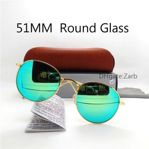 Classic Round Sunglasses Brand Design UV400 Eyewear Metal Gold Frame Sun Glasses Men Women Mirror 51MM Polaroid glass Lens with Box Case