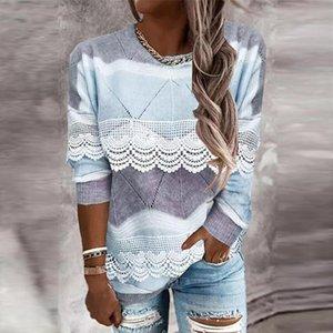 Women's Blouses & Shirts Vintage Elegant Loose Blouse Women 2021 Autumn Fashion Long-sleeved O-neck Print Patchwork Lace Ladies Shirt Casual