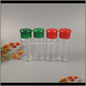 Kräuter-Gewürz-Werkzeuge Küche Essbar-Bar-Garten-Drop-Lieferung 2021 Transluzent-Kunststoff-Gewürz-Glas SaltPepper Shaker-Küchen-Speicher-Flasche