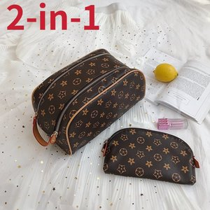 Lady travelling toilet Cosmetic Bags Makeup Train Cases Fashion Large Capacity Wash Toiletry Bag 2-in-1