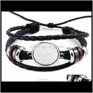 Charm Bracelets Drop Delivery 2021 Fashion Diy Multi Layer Leather Bracelet Bangle Blank Base Fit 20Mm Round Po Glass Cabochon Setting Bezel