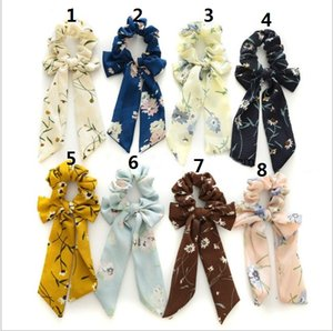 8 style fashion summer Ponytail Scarf Elastic Hair Rope for Women Bow Ties Scrunchies Bands Flower Print Ribbon Hairbands