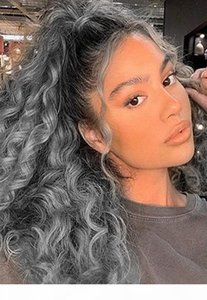 African american Silver Grey Hair Afro Puff Kinky Curly ponytails human extension natural curly updos salt pepper gray pony tail hair piece