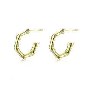 Popular copper plated 18 K gold bamboo Female C-shaped semicircle Silver Needle Earrings Jixzd09