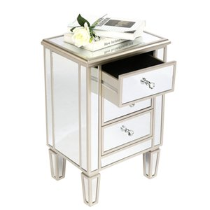 US stock Bedroom Furniture FCH MDF Mirrored Drawer Cabinet Three-drawing Rosy Color Bedside Cabinets stylish portable