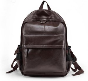 Backpack Vintage Leather Laptop Bookbag For Women Men Vegan Brown Faux School College Campus
