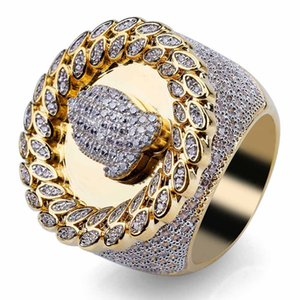 Mens Hip Hop Iced Out Stones Rings High Quality Simulation Diamond Fashion Gold Ring Jewelry