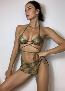 Women Fashion 3-piece Serpentine Bikini Set Halter Lace-up Top+Swim Trunks+Cover Up Stylish Bathing Suit Women's Swimwear