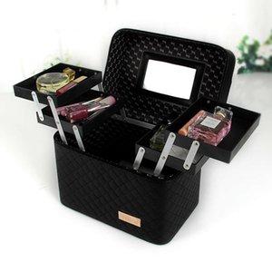 Honglan Portable Double Cosmetic Case Travel Goods Simple Storage Box Bag Waterdichte Pu Make-up Tas Makeup Brush OrgaGOL1