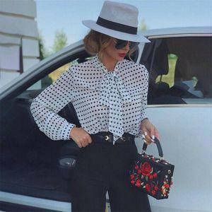 Women See-through Tops Shirts Sheer Mesh Polka Dot Blouse Long Sleeve Bow Autumn Spring Casual Women's Blouses &